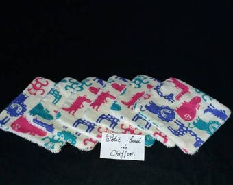 Set of 6 wipes washable bamboo for MOM or baby