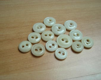 buttons of ivory glass two hole