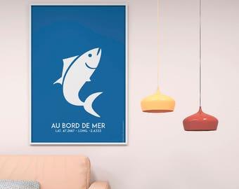 Blue fish Poster Print