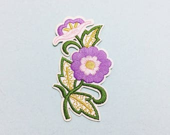 Purple Flower Patch - Iron on Patch, Sew On Patch, Embroidered Patch