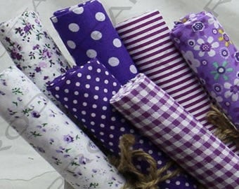 Coupon fabric cotton set of 7 in 50 x 50 cm Patchwork sewing purple tones