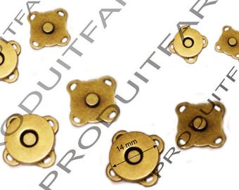 Lot 4 buttons pressure clasp magnetic bags coat wallet Bronze 14 mm