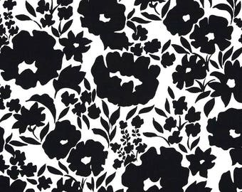 Flowers black and white patchwork fabric