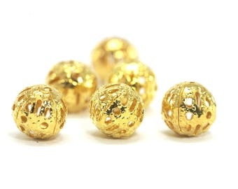metal filigree - Diam 30 beads. : 8 mm - gold gilt