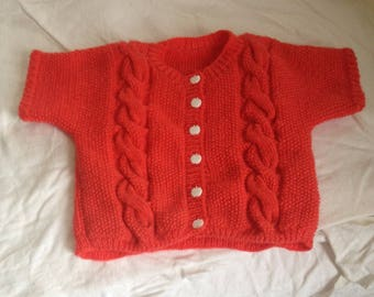 Sleeveless orange knitted baby jacket size 9 months