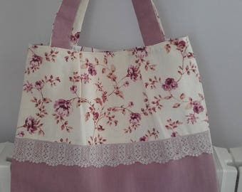 ELEGANT purse/tote bag plain purple linen and small flowers - fine lace