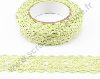 Fabric adhesive tape - light green lace - 17mm x 2.5 m