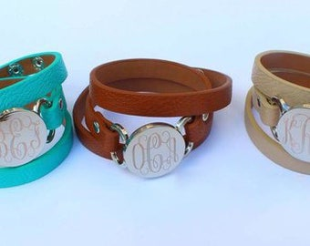 Monogram Layered Bracelet, Monogram Leather Bracelet, Monogram Bracelet