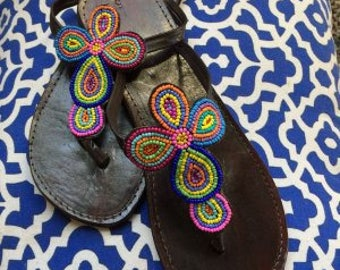 Leather Multi-Colored Cross Beaded Sandal Size 8