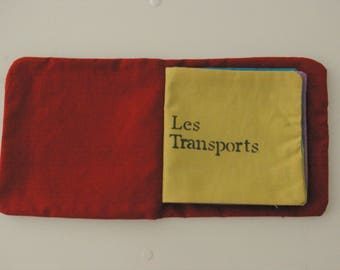 Book themed hand-sewn fabric transport