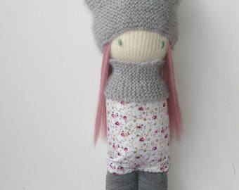 Hand stitched pink hair rag doll