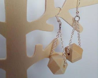 long earrings bead polygon wood