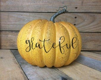 Fall decor. Fall pumpkin. Grateful. Entryway decor. Rustic. Fall.