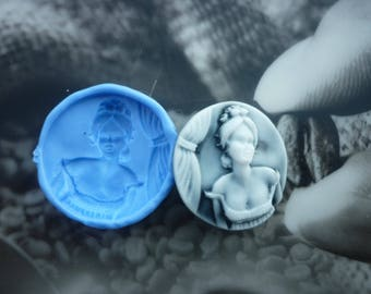 Sided 30mm woman cameo mold