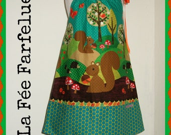 Dress 'Forest FOREVER' vintage squirrel 2 to 8 years