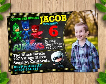 Pj Masks Birthday Invitation, Pj Masks Party, Pj Masks Invite, Pj Masks Birthday Party, Pj Masks Printable,