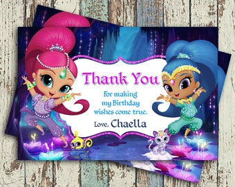 Shimmer and Shine Thank You Card, Shimmer and Shine Invitation, Shimmer and Shine Birthday, Shimmer and Shine Digital
