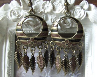 """Earrings """"Spirit of nature"""" black and Brown enameled by me"""