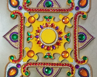 "Table center piece home wedding decoration Diwali decoration Diya Diwa  floating holder for tea light candles Mandala Rangoli size 11.5"""