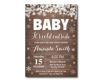 Winter Baby Shower Invitation. Baby its cold outside Baby Shower Invitation. Snowflake. Boy or Girl Baby Shower Invite. Printable Digital.