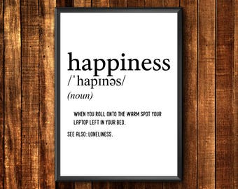 Happiness Definition Print | Definition Print | Happiness Definition | Funny Definition Print | Definition Poster | Funny Definition