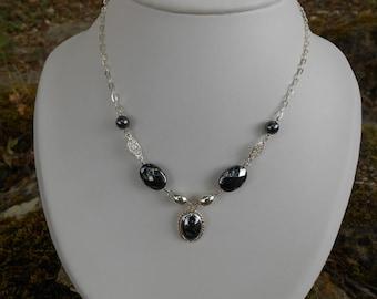 Destash necklace Silver 925 beads hematite, gift for her, hematite necklace, gift for her
