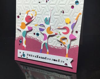 "handmade original card: ""happy birthday"" ballerinas"