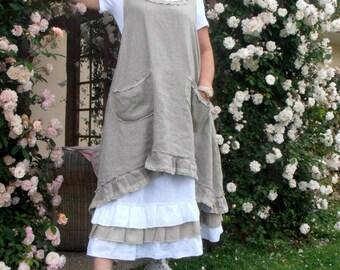 rustic linen dress model m.