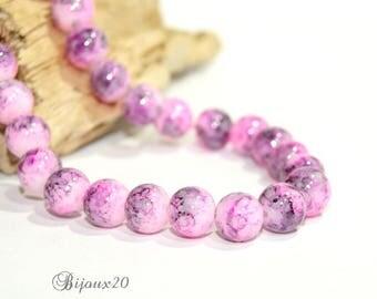 10 10mm round set M02416 marbled purple glass beads