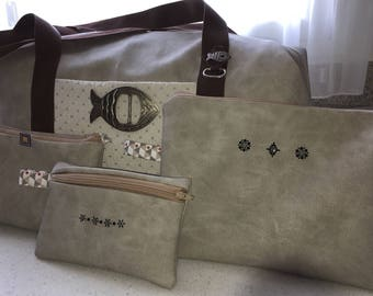 Faux travel bag and its three matching clutches