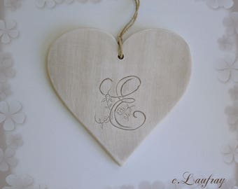 Heart Monogram 'E' ceramic style shabby chic, beige and linen
