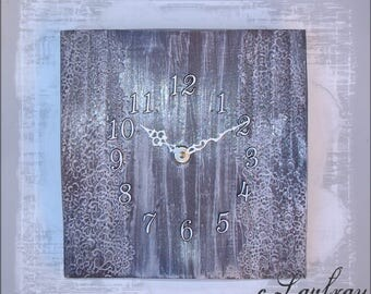 Square wall clock, black faience, weathered effect, white lace