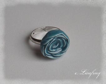 Ring shaped ceramic, turquoise pink flower, Adjustable ring