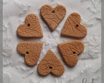 Set of 6 hearts ceramic terracotta lace impressions