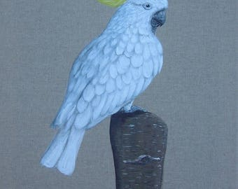 "Table ""Cockatoo"" painting on linen"