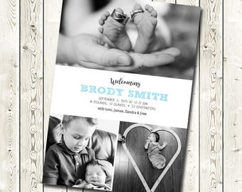 Photo Baby Announcement, Birth Announcement, Digital JPEG File