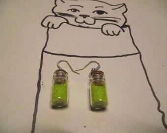 New shiny green sand vial earrings