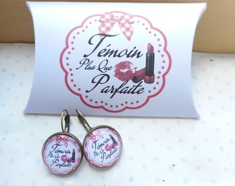 "Earrings sleeper glass cabochon + ""perfect witness"" white, red, black gift box"