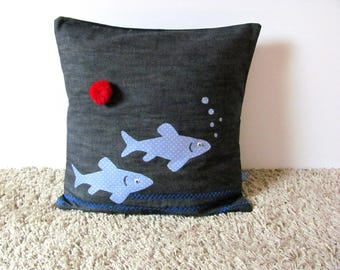 FISH pattern and Red denim pillow cover