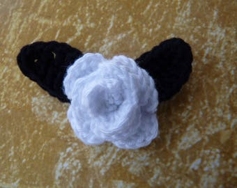 White Rose with black leaves crochet