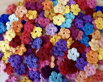 Mini crochet cotton flowers
