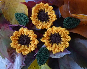 3 sunflowers and 3 leaves crochet
