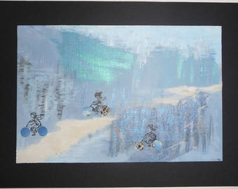 creation acrylic on canvas, 3 small women to bike in Finnish landscape
