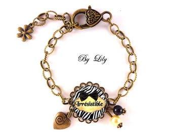 """""""Irrésistible"""" bracelet, retro image cabochon!"""