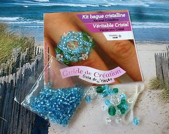 ring Kit in blue and Emerald colored Crystal beads