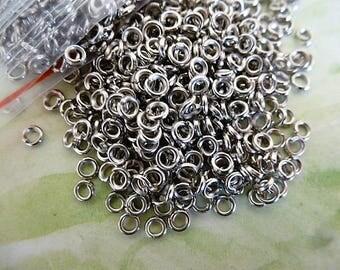 100 jumprings antique silver 3 mm in diameter