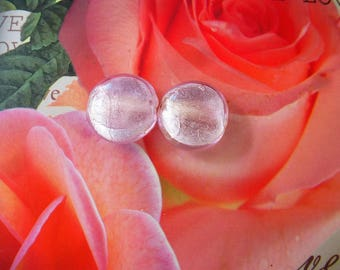glass beads Murano clear pink stone inside silver PL 095 - set of 2