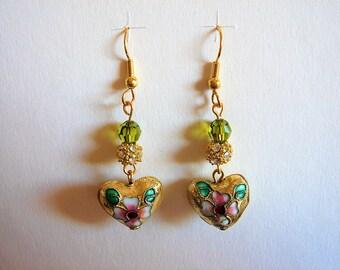 "Earrings ""Eastern charm"" Golden cloisonne heart, shamballa and baroque style Czech glass"
