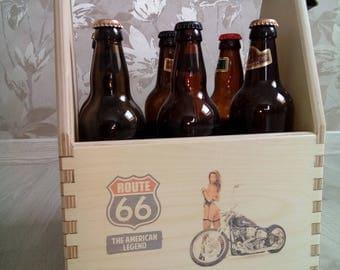 Wood Beer Caddy. Wood Six Pack Beer Carrier.