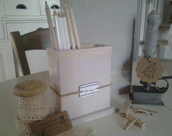 Nice rectangular pot wooden pencils or brushes